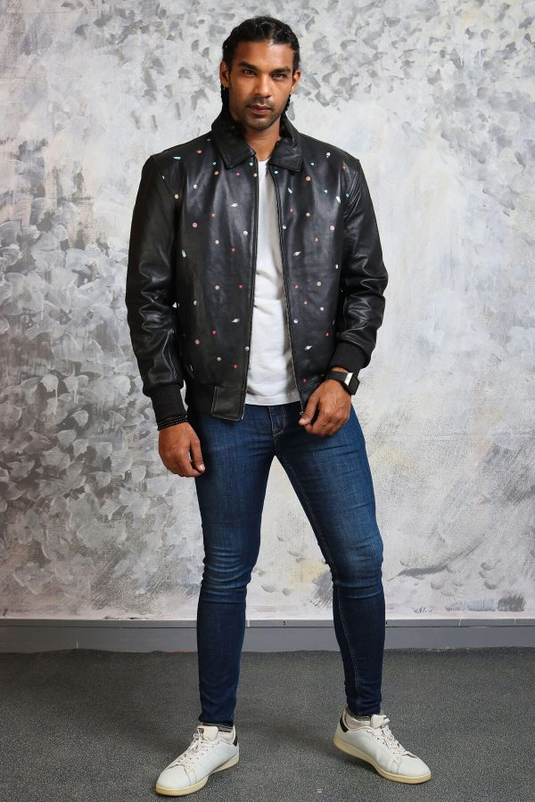 Bomber leather jacket smart casual