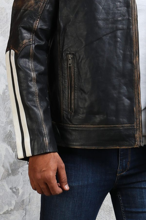 distressed leather black jacket