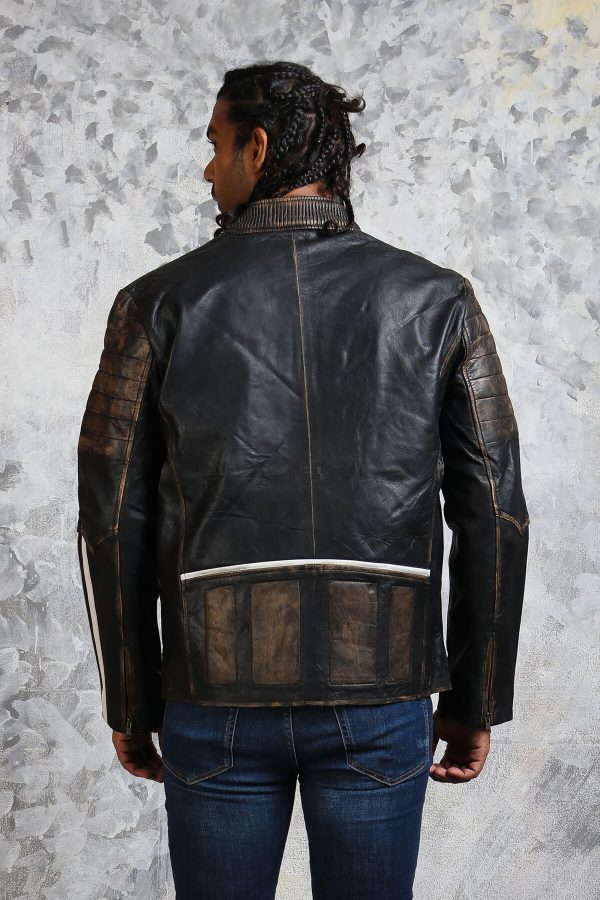 Distressed leather jacket black and white