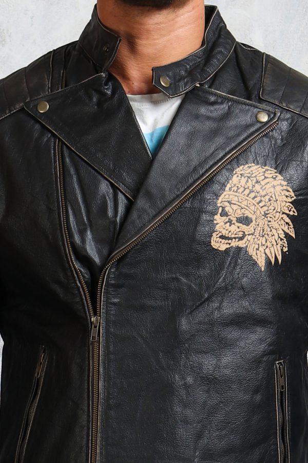 engraved skull jacket mens black