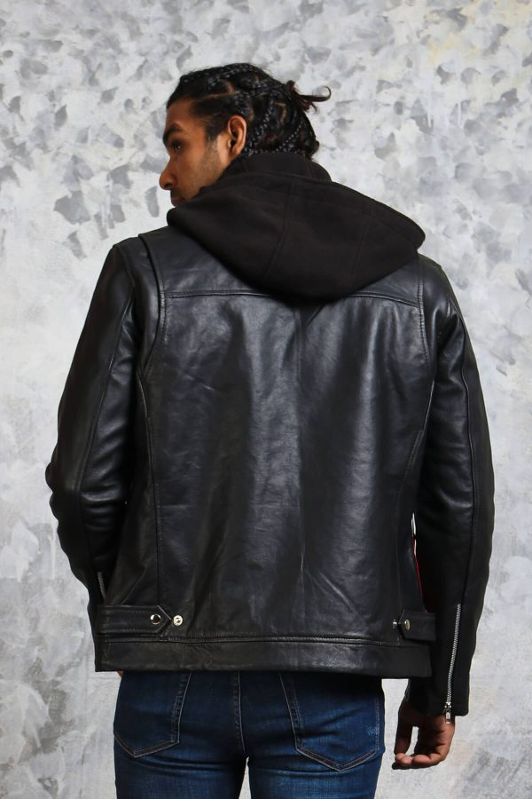 Mens Black Hooded Leather Jacket