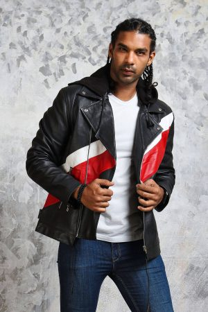 Hooded Leather Jacket Mens Biker