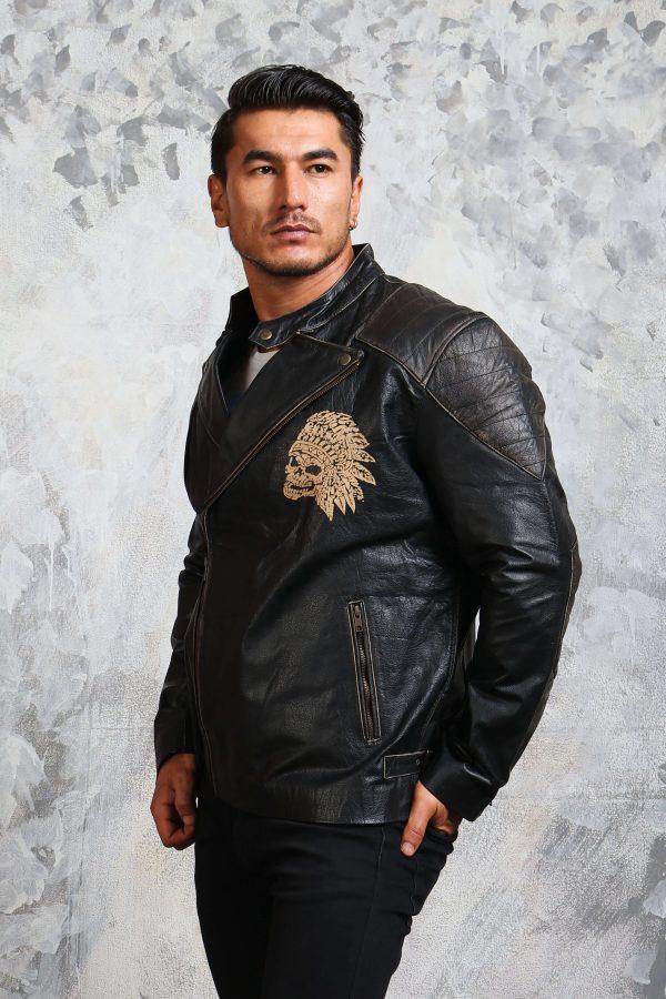 indian skull leather jacket mens