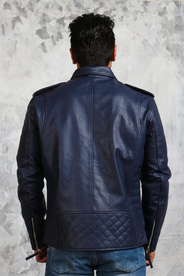 leather blue jacket winter mens