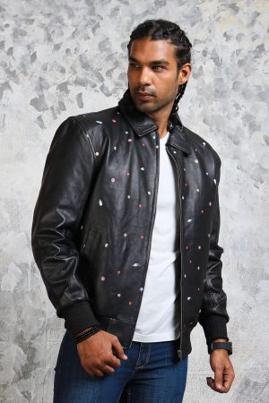 Leather bomber jacket mens good times