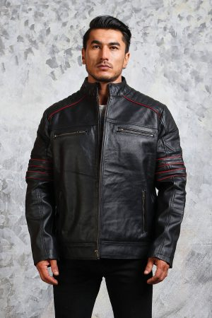 Mens Biker Leather Jacket in Black