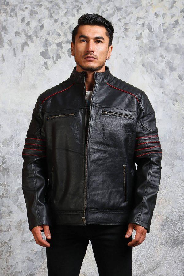 Mens Biker Leather Jacket in Black