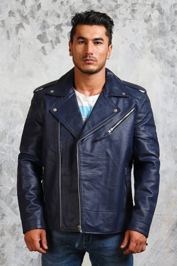 mens blue winter motorcycle jacket