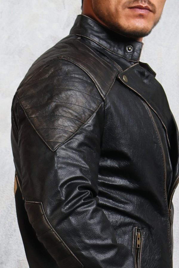 mens leather biker jacket skull