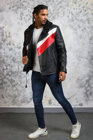 Mens leather jacket with hoodie