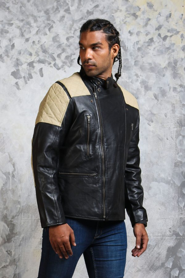 mens-quilted bomber jacket leather