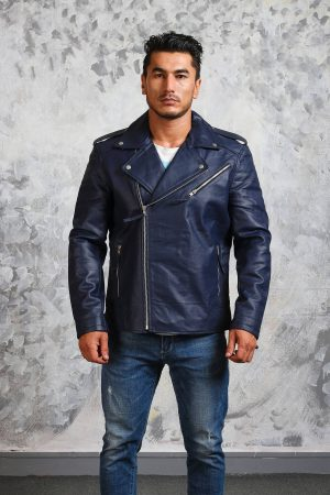 motorcycle jacket blue leather mens