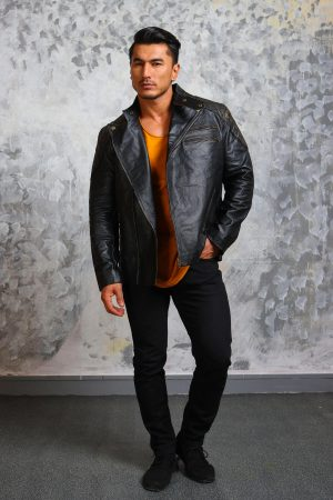 Motorcycle Leather Jacket Mlens-black