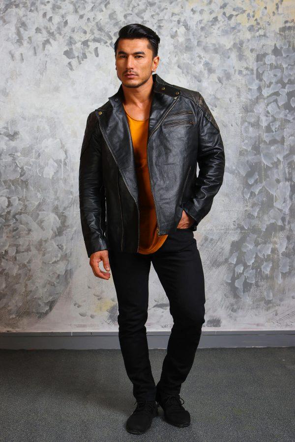 Motorcycle Leather Jacket Mlens-black