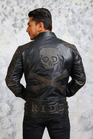 skull crossbones leather biker jacket