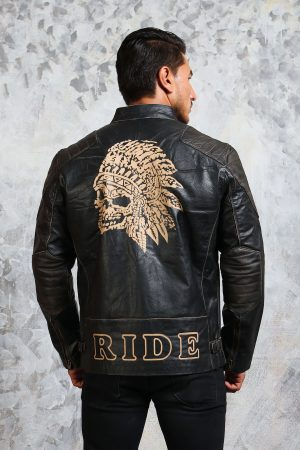 skull leather jacket indian headress