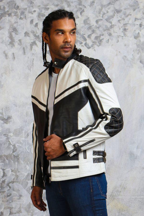 Mens padded white biker jacket