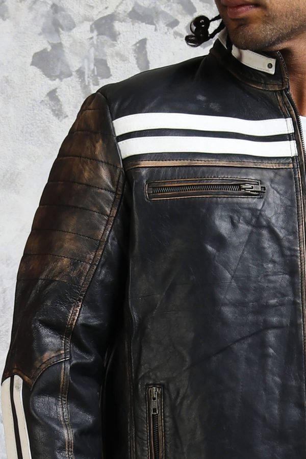 White Striped Distressed Leather Jacket