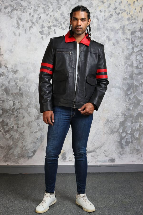 Black and red leather jacket