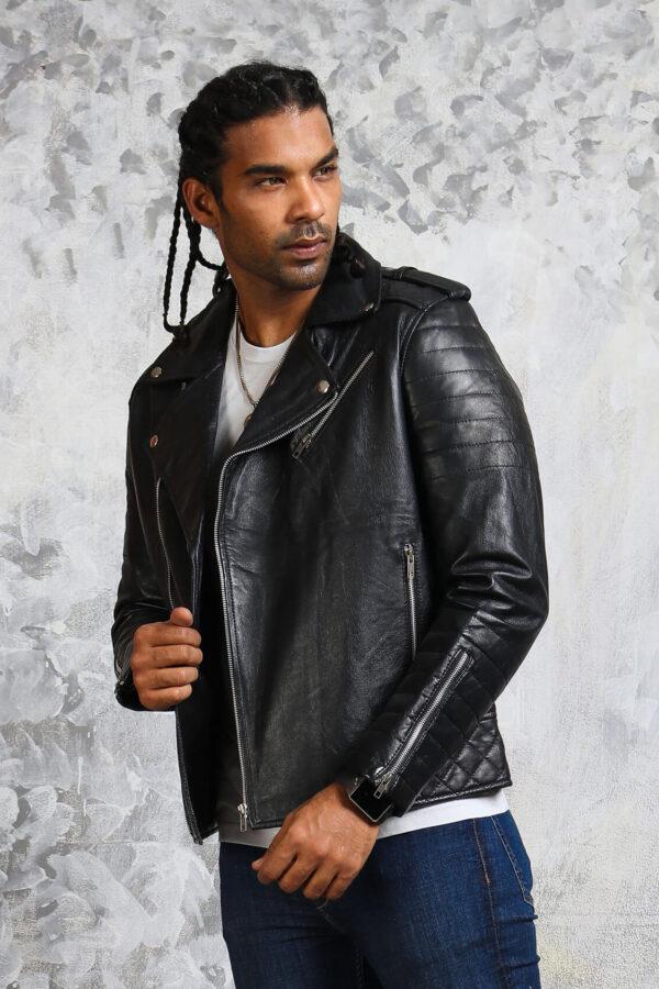 Black Leather Jacket Mens Biker