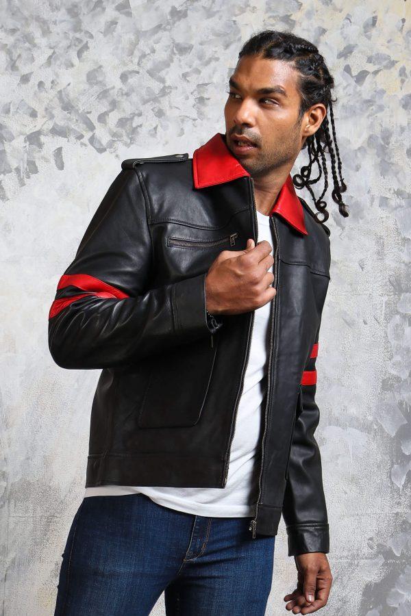 Black leather jacket red stripes