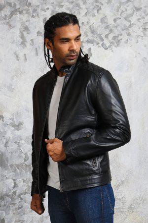 Black leather winter jacket mens