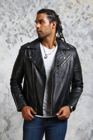 Black Motorcycle Leather Jacket Mens