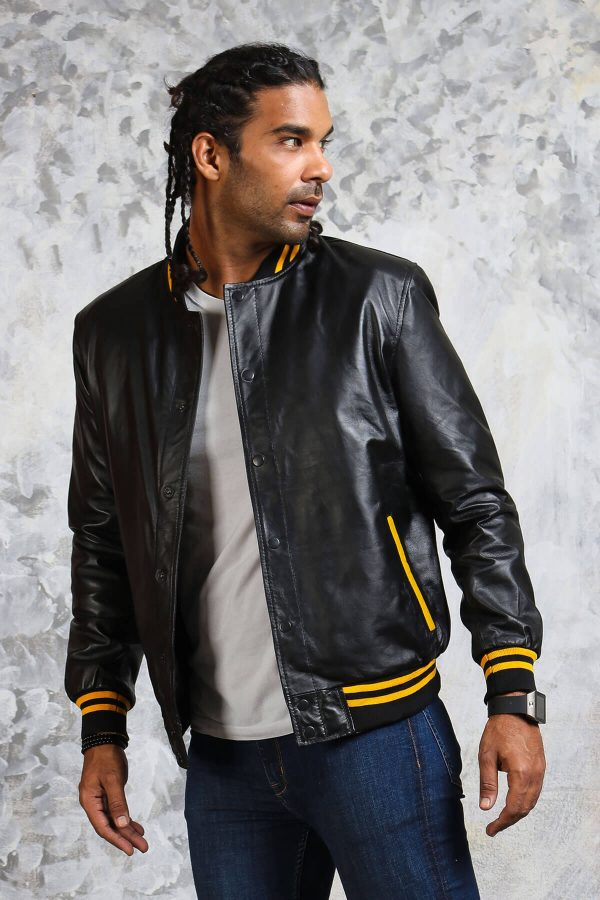 Black and yellow leather bomber jacket