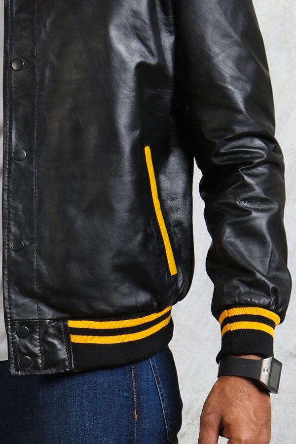 Bomber black jacket yellow stripes