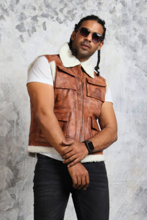 Brown Leather Vest Mens Biker