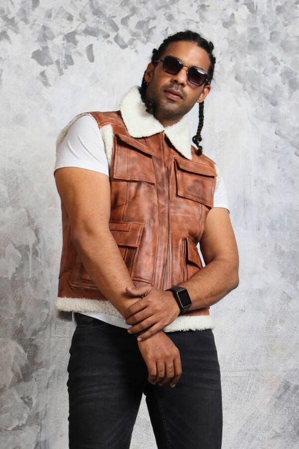Brown Leather Vest Mens Biker