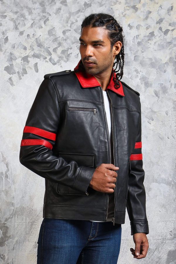 Collar leather jacket smart casual