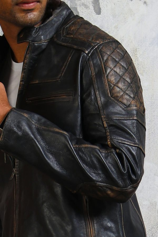 Diamond quilted distressed leather jacket