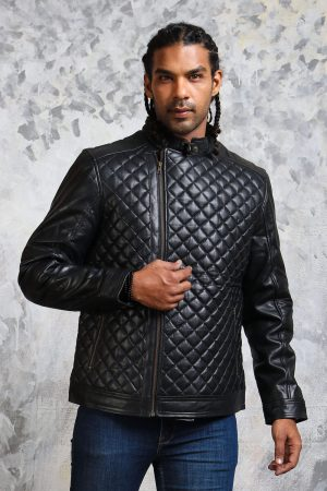 Diamond quilted jacket black leather