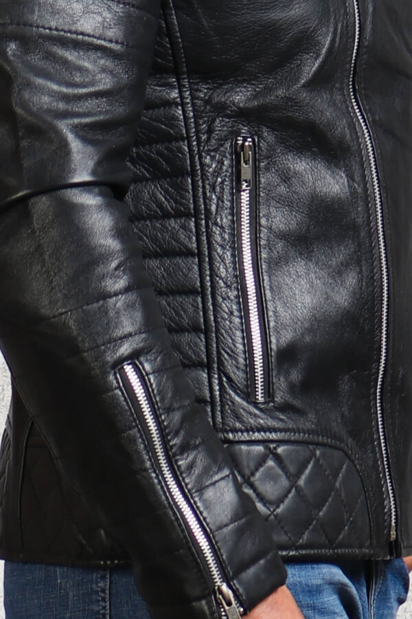 Diamond Quilted Leather Jacket Biker