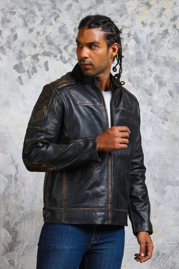 Distressed leather quilted jacket mens
