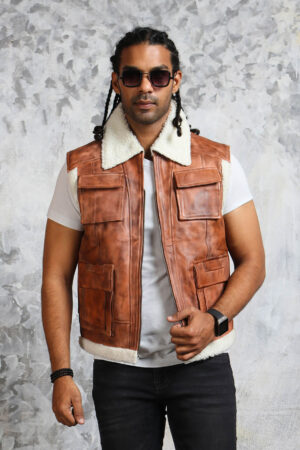 Leather Vest Mens with Fur Collar
