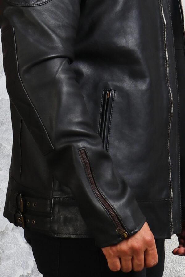Lightweight Belted Leather Jacket Mens