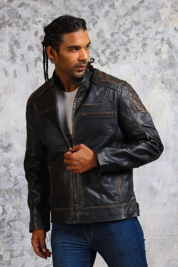 Mens biker distressed leather jacket