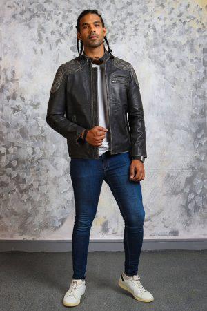 Mens biker distressed skull jacket
