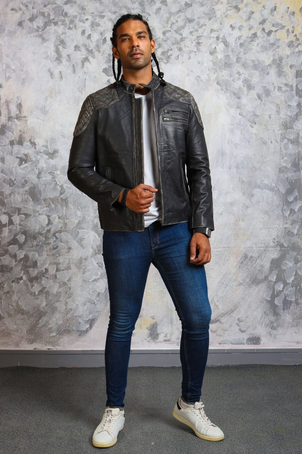 Mens biker distressed skull jacket