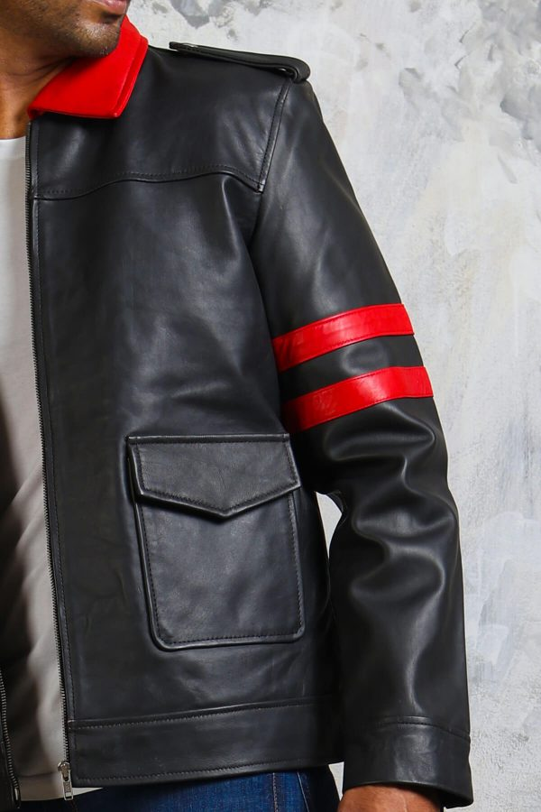 Mens black jacket with red stipes