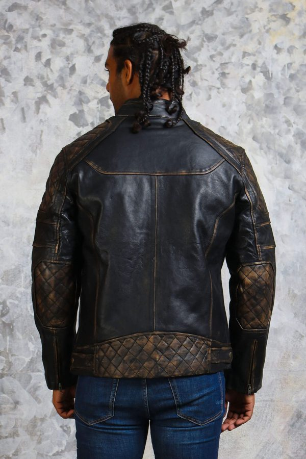 Mens padded leather motorcycl jacket