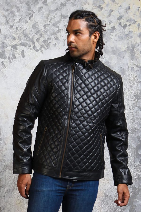 Mens quilted jacket real leather