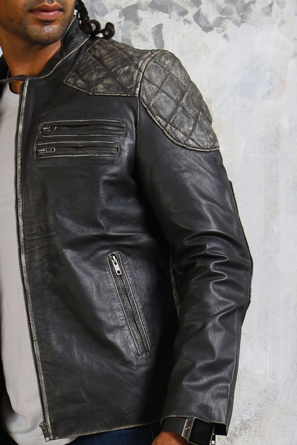 Mens skull leather motorcycle jacket