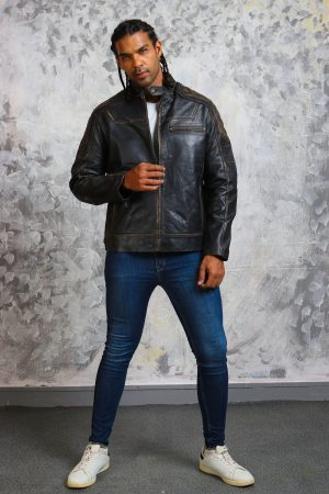 Mens vintage biker leather jacket