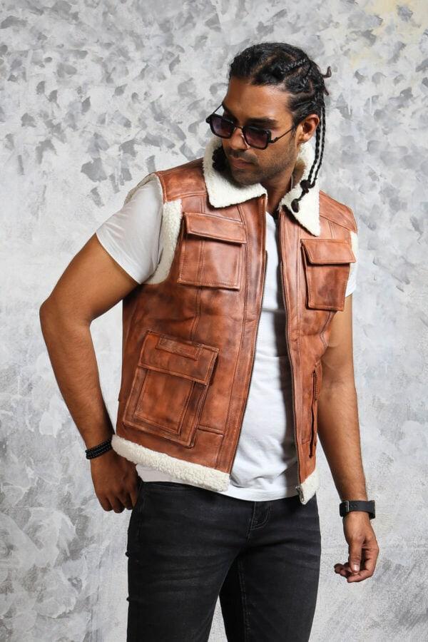 Mens Brown Leather Winter Vest
