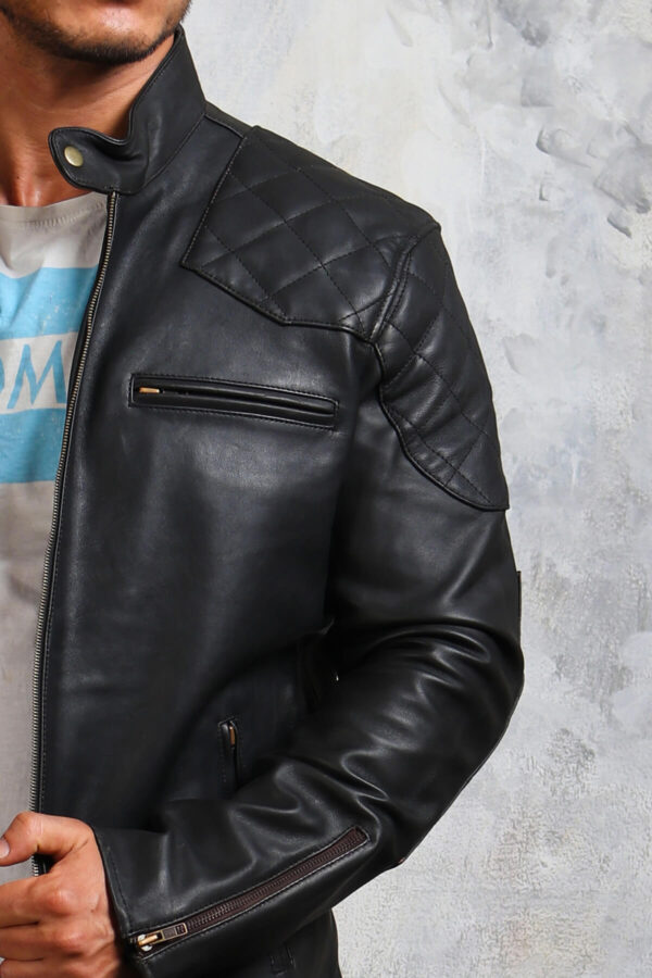 Quilted Pattern Leather Biker Jacket