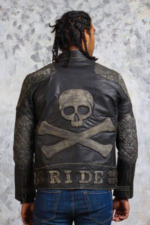Skull leather jacket vintage mens