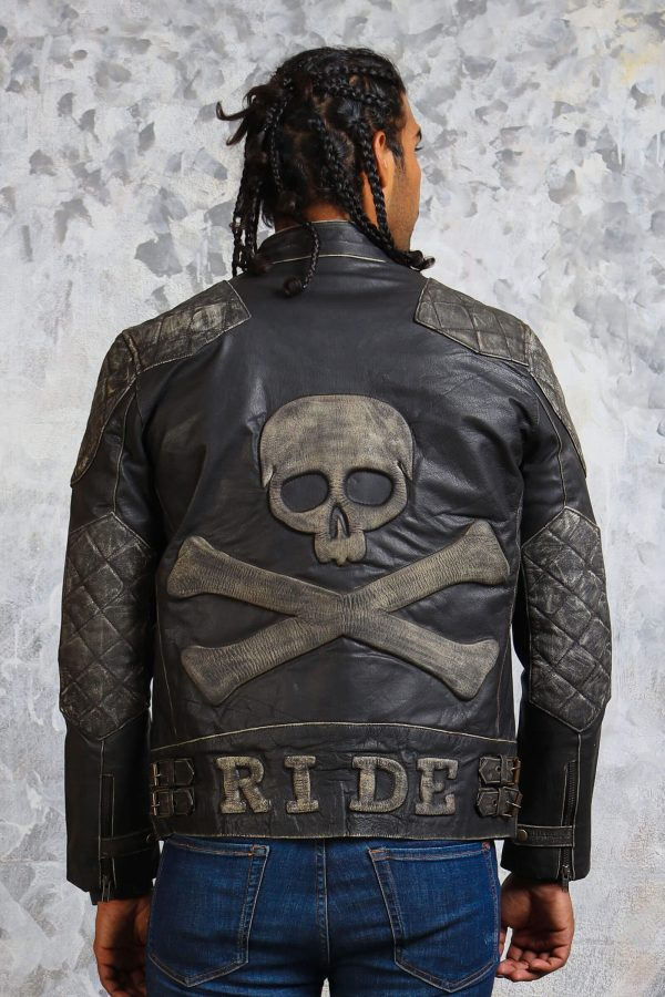Skull leather jacket vintage mens